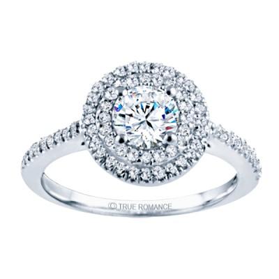 Rm1394-14k White Gold Halo Engagement Ring