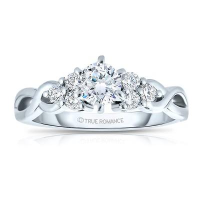 Rm1450 -14k White Gold Round Cut Diamond Infinity Engagement Ring