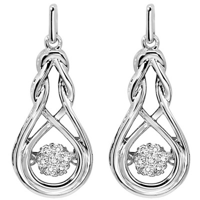 Diamond ROL Rhythm of Love Anniversary Dangle Earrings in Sterling Silver