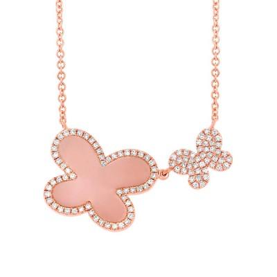 Diamond & Pink Opal Butterfly Necklace