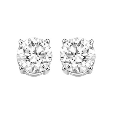 Diamond Round Classic Solitaire Stud Earrings in 14k White Gold (1/4 ctw)