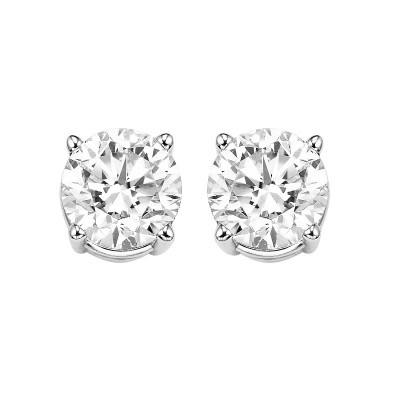 Diamond Round Classic Solitaire Stud Earrings in 14k White Gold (1 ctw)