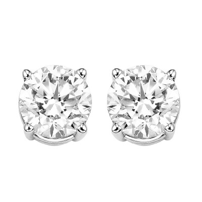 Diamond Round Classic Solitaire Stud Earrings in 14k White Gold (1 1/2 ctw)