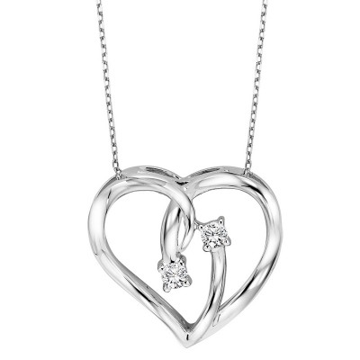 Diamond 2-Stone Open Ribbon Heart Pendant Necklace in Sterling Silver