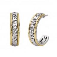 Sterling Silver & 18kg Earrings 23mm