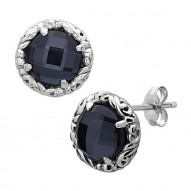 Sterling Silver & 14kw Earrings Containing 2 Rd Hematite of 8x8mm