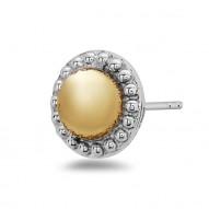 Sterling Silver/14W/18Ky Stud Earrings