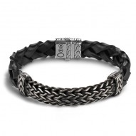 Classic Chain Slim Station with Black Oxidation Bracelet
