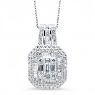 Round BAG Cluster Diamond Necklace