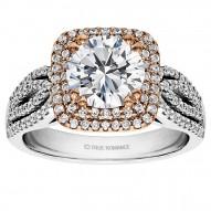 Round Cut Cushion Halo Diamond Engagement Ring
