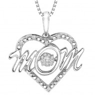 MOM Heart Diamond Necklace