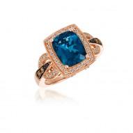 London Blue Topaz  with Chocolate Diamond & Vanilla  Diamond  Ring