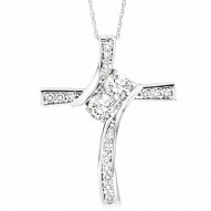 One diamond for her plus one diamond for you represents the two of you TWOgether. 14 karat white gold Cross Diamond Necklace with 2 larger diamonds and smaller accent diamonds channel setting. The chain is 18 inches in length.