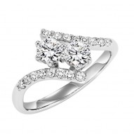 One diamond for her plus one diamond for you represents the two of you TWOgether. 14 karat white gold diamond ring with 2 larger diamonds and smaller pave accent diamonds. The Diamonds total 1/2 carat.