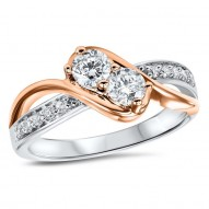 One diamond for her plus one diamond for you represents the two of you TWOgether. 14 karat white and rose gold diamond ring with 2 larger diamonds and smaller pave accent diamonds. The Diamonds total 1/5 carat.