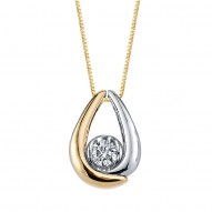 Ladies 1/5 Carat Diamond Solitaire set in a Bezel Teardrop Necklace by Sirena