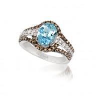Aquamarine wutg Chocolate Diamond & Vanilla  Diamond Ring
