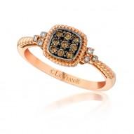 Chocolate  Diamond Square  PETITE Ring