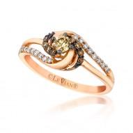 Chocolate Diamond & Vanilla  Diamond BYPASS Design Ring