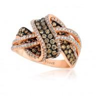Chocolate Diamond & Vanilla  Diamond KNOT Ring