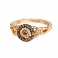 Chocolate Diamond & Vanilla  Diamond Circle  Fashion Ring