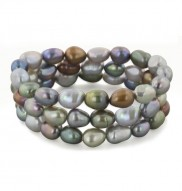 Set of 3 8-9mm Dark Multi Baroque Freshwater Cultured Pearl 7.5 Inch Stretch Bracelets