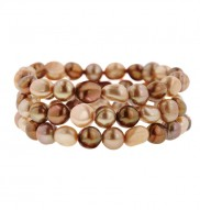 Set of 3 8-9mm Multi Chocolate Baroque Freshwater Cultured Pearl 7.5 Inch Stretch Bracelets