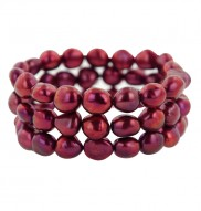 Set of 3 9-10mm Cherry Baroque Freshwater Cultured Pearl Stretch Bracelets