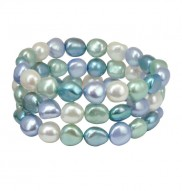 Set of Three 9-10mm Halo Baroque Freshwater Cultured Pearl 7.5 Inch Stretch Bracelets