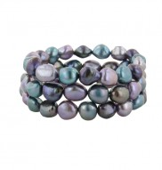 Set of 3 9-10mm Baroque Royale Freshwater Cultured Pearl Stretch Bracelets