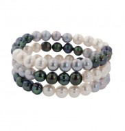 Set of 3 8-9mm Black White and Gray Ringed Freshwater Cultured Pearl Stretch Bracelets