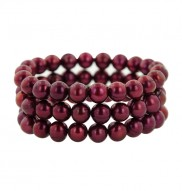 Set of 3 8-9mm Cherry Round Ringed Freshwater Cultured Pearl Stretch Bracelets