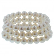 Set of 3 8-9mm White Ringed Freshwater Cultured Pearl Stretch Bracelets