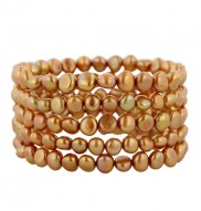 Set of 5 6-7mm Gold Baroque Freshwater Cultured Pearl Stretch Bracelets