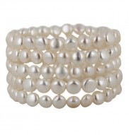 Set of 5 6-7mm White Baroque Freshwater Cultured Pearl Stretch Bracelets