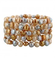 Set of 5 7-8mm Silver Gold and Copper Baroque Freshwater Cultured Pearl Stretch Bracelets