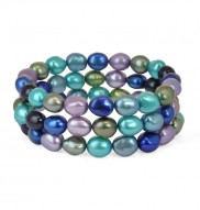 Set of 3 8-9mm Peacock Baroque Freshwater Cultured Pearl Stretch Bracelets
