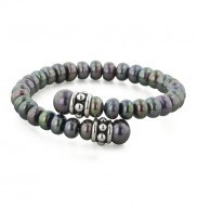 Sterling Silver 7-8.5mm Black Freshwater Cultured Pearl Pallini Coil Bracelet
