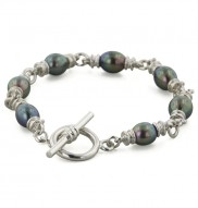 Sterling Silver 8-9mm Black Freshwater Cultured Pearl 7.5 Inch Link Bracelet