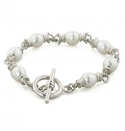 Sterling Silver 8-9mm White Freshwater Cultured Pearl 7.5 Inch Link Bracelet