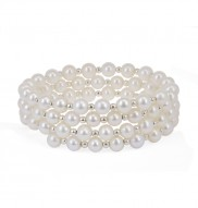 Sterling Silver 5-6mm White Potato Freshwater Pearl Coil Bracelet