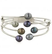 Sterling Silver 8-9mm Dark Multi Freshwater Cultured Pearl Bangle Bracelet