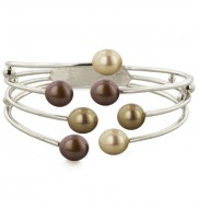 Sterling Silver 8-9mm Multi Chocolate Freshwater Cultured Pearl Bangle Bracelet