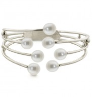 Sterling Silver 8-9mm White Freshwater Cultured Pearl Bangle Bracelet