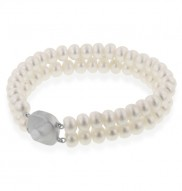 Sterling Silver 7-7.5mm White Freshwater Cultured Pearl 2 Row Bracelet