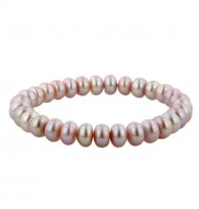 Sterling Silver 7-7.5mm Plum Freshwater Cultured Pearl Stretch Bracelet