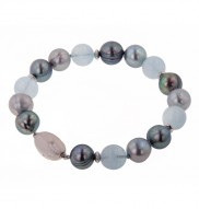 Sterling Silver 10+mm Aqua & Black and Gray Ringed Freshwater Cultured Pearl 7.5 Inch Bracelet