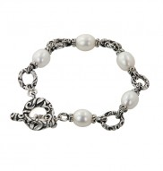 Sterling Silver 9-9.5mm Oval White Freshwater Cultured Pearl 7.5 Toggle Bracelet