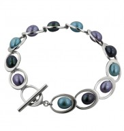 Sterling Silver 6.5-7mm Oval Royale Freshwater Cultured Pearl 7.75 Inch Toggle Bracelet