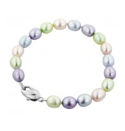 Sterling Silver 5.5-6mm Oval Candy Collection Freshwater Cultured Pearl 6 Inch Bracelet